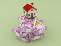 Новая индийская валюта с моделью дома иллюстрация вектора