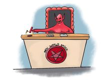 Новая иллюстрация шаржа глобализации судьи дьявола международного порядка Стоковое Фото