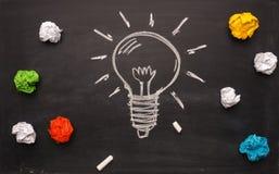 Новая концепция идеи с handdrawn лампочкой и скомканной бумагой Стоковые Фото