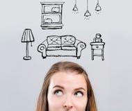 Новая мечта квартиры с молодой женщиной стоковые изображения rf
