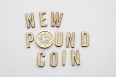 Новая монетка английского фунта Стоковое Фото