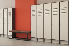 Новая оранжевая раздевалка с пустой стеной Стоковые Фотографии RF