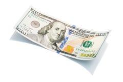 Новая долларовая банкнота на белом, съемка США 100 макроса S доллар 100 счетов Стоковое Изображение RF