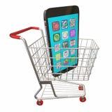 Новая продажа покупки магазинной тележкаи сотового телефона Стоковое Фото
