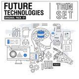 Новая современная тонкая линия значки установила технологию будущего стоковое изображение