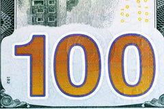 Новая 100 съемок конца-вверх долларовой банкноты Стоковая Фотография RF