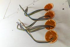 Новая электрическая установка, коробки гнезда пластичные и электрический Стоковая Фотография RF
