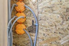 Новая электрическая установка, коробки гнезда пластичные и электрический Стоковые Фотографии RF