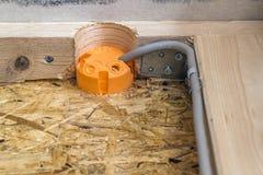 Новая электрическая установка, коробки гнезда пластичные и электрический Стоковое фото RF