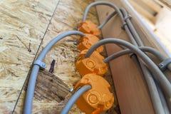 Новая электрическая установка, коробки гнезда пластичные и электрический Стоковые Фото