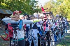 Нова Kakhovka, Украина, 3-ье октября 2018 чемпионат archery Украины стоковая фотография