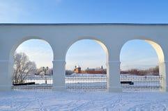 Новгород Кремль в Veliky Новгороде, России - взгляде зимы Стоковое Фото