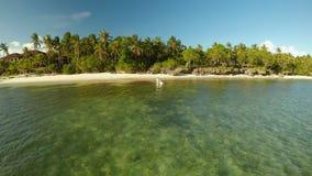 Новобрачные имеют потеху бежать в море Вид с воздуха острова побережья Bohol дел Взгляд Fisheye philippines сток-видео