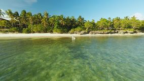 Новобрачные имеют потеху бежать в море Вид с воздуха острова побережья Bohol дел philippines акции видеоматериалы