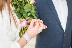 Новобрачные носят кольца одина другого как знак вечной влюбленности красивый момент начала семьи Стоковое Изображение RF