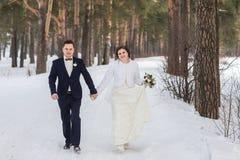 Новобрачные пар идя в лес зимы Стоковая Фотография RF