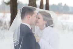 Новобрачные пар идя в лес зимы Стоковое Фото