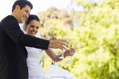 Новобрачные провозглашать каннелюры шампанского кроме торта на парке Стоковое фото RF