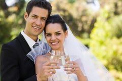 Новобрачные провозглашать каннелюры шампанского на парке Стоковые Изображения RF