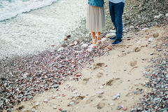 новобрачные пляжа Конец-вверх ног Стоковые Фотографии RF