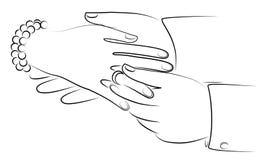 Новобрачные рук на свадьбе Человек кладет обручальное кольцо на палец девушки s r иллюстрация вектора