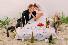 Новобрачные сидят около пикника свадьбы на пляже Стоковое Фото