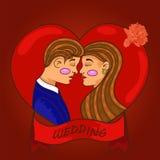 Новобрачные соединяют в влюбленности смотря один другого Любовь вектор иллюстрация штока