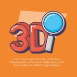 нововведение лупы технологии 3d Иллюстрация вектора