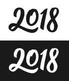 Нового Года поздравительная открытка 2018 в черно-белом Стоковое Изображение RF