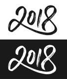 Нового Года поздравительная открытка 2018 в черно-белом Стоковая Фотография