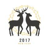 Нового Года поздравительная открытка 2017 с оленями нарисованными рукой Стоковое фото RF