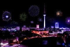 Новогодняя ночь в Берлине Стоковое фото RF