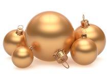 Новогодняя ночь украшения украшения шарика рождества золотая Стоковые Изображения RF