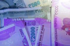 Новое примечание валюты 2000 и 500 рупий Стоковое Изображение