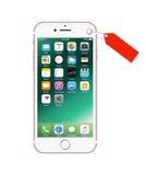 Новое цвета розов белое iPhone 7 как настоящий момент Стоковые Изображения