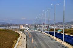 Новое шоссе дороги под конструкцией Стоковое Фото