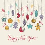 Новое Year& x27; s забавляется стиль нарисованный рукой Стоковое Фото