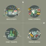 Новости & события, мобильная коммерция, денежный перевод, наградные об бесплатная иллюстрация