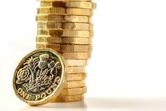 Новые британцы один тариф диаграммы монетки фунта стерлинга Стоковое Изображение RF