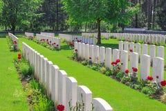Новые великобританские поля Фландрии Первой Мировой Войны кладбища Стоковое Фото