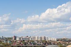 Новые входы новых зданий в районе сада города Чебоксар, республики Chuvash, России 05/04/2016 Стоковое Изображение