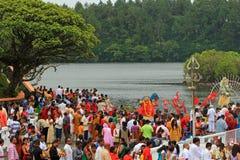 Новые Годы дня в священном озере, Маврикии Стоковое фото RF