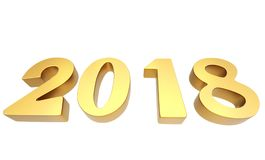 Новые диаграммы 3D 2018 год золотые Стоковое Изображение