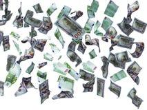 Новые 100 долларов и 100 банкнот евро падают на пол 3d для того чтобы не представить на белой предпосылке никакую тень иллюстрация штока