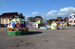 Новые деревянные дома для продажи Стоковое Изображение