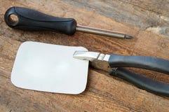 Новые инструменты здания на старой темной деревянной предпосылке, месте для текста Стоковое Изображение