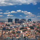 Новые и старые районы Лиссабона, Португалии стоковое фото