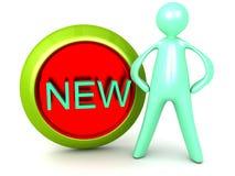 Новые кнопка иконы знака и человек шаржа иллюстрация штока