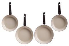 Новые лотки кухни изолированные на белой предпосылке Стоковые Изображения RF