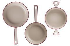 Новые лотки кухни изолированные на белой предпосылке Стоковое Изображение